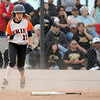 "Erie High School's Kaitlyn Glaze gives a fist pump after scoring during a game against Pueblo East High School on Saturday, Oct. 20, at the Aurora Sports Park in Aurora. Erie Lost the game 6-4. For more photos of the game go to  <a href=""http://www.dailycamera.com"">http://www.dailycamera.com</a><br /> Jeremy Papasso/ Camera"