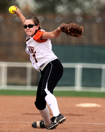 """Erie High School's Carrie Clarke throws some heat during a game against Pueblo East High School on Saturday, Oct. 20, at the Aurora Sports Park in Aurora. Erie Lost the game 6-4. For more photos of the game go to  <a href=""""http://www.dailycamera.com"""">http://www.dailycamera.com</a><br /> Jeremy Papasso/ Camera"""