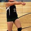 KEN YUSZKUS/Staff photo. Essex Tech's Dianna LeBlanc belts the ball during the Shawsheen at Essex Tech girls volleyball game. 9/22/14