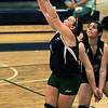 KEN YUSZKUS/Staff photo. Essex Tech's Kasey Harris returns the ball during the Shawsheen at Essex Tech girls volleyball game. 9/22/14