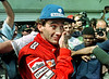 Brazilian Formula 1 race car driver Ayrton Senna speaks with journalists during a training session at the Jacarepagua race track in Rio de Janeiro, Brazil, March 22, 1990. (FOTO:<br /> AUSTRAL FOTO/RENZO GOSTOLI)