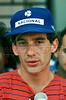 Brazilian Formula 1 race car driver Ayrton Senna speaks to journalists during a training session at the Jacarepagua race track in Rio de Janeiro, Brazil, March 18,1990. (FOTO:AUSTRAL FOTO/RENZO GOSTOLI)