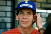 Brazilian Formula 1 race car driver Ayrton Senna concentrates during a training session at the Jacarepagua race track in Rio de Janeiro, Brazil, March 18, 1990. (FOTO:AUSTRAL FOTO/RENZO GOSTOLI)