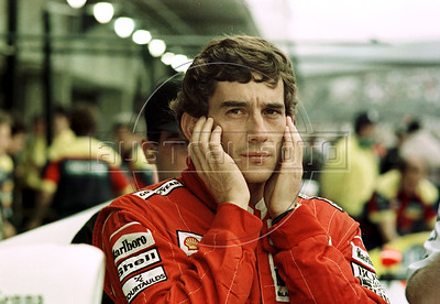 Brazilian Formula 1 race car driver Ayrton Senna gestures during a training session at the Jacarepagua race track in Rio de Janeiro, Brazil, March 22, 1990.  (FOTO:AUSTRAL FOTO/RENZO GOSTOLI)