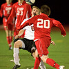 S1104SOCCER6.jpg S1104SOCCER6<br />  Fairview's # 2, Shane O'Neill and Chaparral's # 20, Zach Ferlise go for a loose ball.<br /> <br /> Photo by: Jonathan Castner