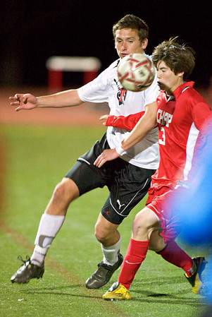 S1104SOCCER2.jpg S1104SOCCER2<br />  Fairview's # 2, Shane O'Neill and Chaparral's #3, Stephen Salansky.<br /> <br /> Photo by: Jonathan Castner