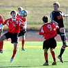 Fairview High School's #5 Soren Frykholm settles the ball while FHS's #9 Bryan Windor battles #8 Josh Murdock during their game against Grand Junction High School on Wednesday October 27, 2010 in Boulder.<br /> Photo by Paul Aiken