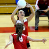"Fairview High School's Ciel Tift sets  the ball for Kendal LaVine  in their match against Cherry Creek High School on September 6, 2011. FOR MORE PHOTOS GO TO  <a href=""http://WWW.DAILYCAMERA.COM"">http://WWW.DAILYCAMERA.COM</a><br /> Photo by Paul Aiken / The Camera / September 6 2011"