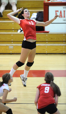 "Fairview High School's Emma Griffey goes up for a spike in their match against Cherry Creek High School on September 6, 2011. FOR MORE PHOTOS GO TO  <a href=""http://WWW.DAILYCAMERA.COM"">http://WWW.DAILYCAMERA.COM</a><br /> Photo by Paul Aiken / The Camera / September 6 2011"