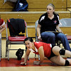 "Fairview High School's Stephanie Lee #2 crashes into the bench after making a difficult save against Cherry Creek High School on September 6, 2011. FOR MORE PHOTOS GO TO  <a href=""http://WWW.DAILYCAMERA.COM"">http://WWW.DAILYCAMERA.COM</a><br /> Photo by Paul Aiken / The Camera / September 6 2011"