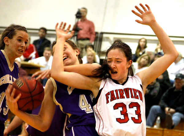 Fairviews Sarah Kaufmann, 33, defends against  Fort Collins Ashley Evans, 40, during their game at Fairview High School on Friday January 27, 2012.<br /> Photos by Fabian Matzerath