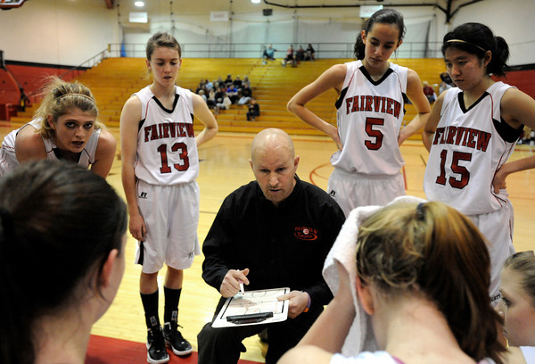"""Fairview High School Head Coach Rod Beauchamp talks with his players while in a time-out during a game against Fort Collins High School on Friday, Jan. 27, at Fairview High School in Boulder. Players in the back from the left, Georgina, Ryder, Katie Kuosman, Annika Lai and Betty Yi. For more photos of the game go to  <a href=""""http://www.dailycamera.com"""">http://www.dailycamera.com</a><br />  Jeremy Papasso/ Camera"""