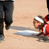 Fairview High's Teresa Prinster (8) is late in diving to first base to attempt a force out on a single during the girls softball game between Pomona High at Fairview High School on Tuesday April 21, 2012.<br /> For more photos go to www. bocopreps.com<br /> Photo by Paul Aiken / The Boulder Camera