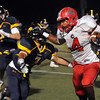 """CARL RUSSO/Staff photo. Central Catholic's captain, D'Andre Drummond-Mayrie sprints for the end zone as Andover's Brandon Marti moves in to tackle. Central defeated Andover 26-7 in Friday night football action. FOR MORE PHOTOS GO TO  <a href=""""http://smu.gs/19G3xGH"""">http://smu.gs/19G3xGH</a>. 9/27/2013."""