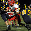 """CARL RUSSO/Staff photo. Central Catholic's quarterback Mike Milano finds running room. Central defeated Andover 26-7 in Friday night football action. FOR MORE PHOTOS GO TO  <a href=""""http://smu.gs/19G3xGH"""">http://smu.gs/19G3xGH</a>. 9/27/2013."""