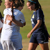 CARL RUSSO/Staff photo. Haverhill's Grace Stanton (left) is congratulated by teammate, Molly Thomas (17) after scoring a goal at the start of the second half to give Haverhill the 2-1 lead. Stanton would score again later in the game to give the Hillies the 3-1 victory in Tuesday afternoon soccer action. 10/1/2013.