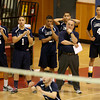 Lawrence coach Tony Hajjar reacts with players on the bench during their match against Acton-Boxboro.