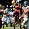 CARL RUSSO/Staff photo. Whittier Tech. was defeated by Austin Prep 22 to 14 in Saturday morning football action. Whittier's Joshua Barton, left and Mitchell Censullo, 7 celebrate after Whittier scored  a touchdown in the second half. 9/7/2013.