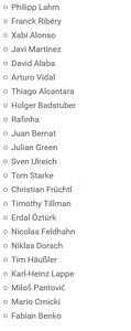 FC Bayern Audi Summer USA Tour 2016 Players