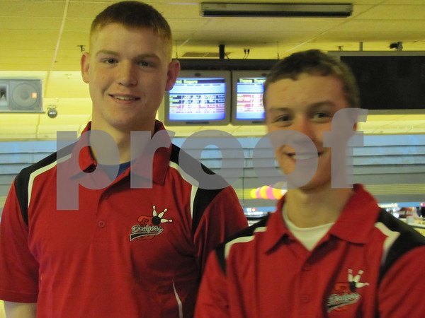 Bowlers Jared Rogers and Thomas Thompson at the Fort Dodge Dodgers meet at Ridgewood Lanes.