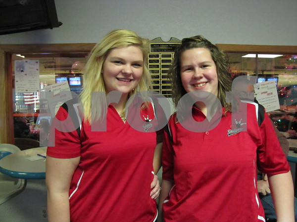 Dodger girl bowlers Victoria Coleman and Carrie Anderson.