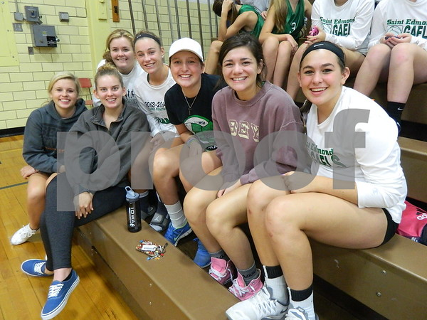 Left to right: Livi Huss, Hannah Huss, Alli Huss, Anna Yung, Clare Flattery, Abby Daster, and Madeline Baldwin.