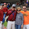 From left: Jim Darcangelo, son Jaxson,  coach Chris Woods and his mother Jan, with Kevin Starr. Darcangelo and Starr were members of the Class of 1991.