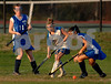 EM #2 Tracy Rivas, Junior and #11 Senior Casey Andree (1 goal). Baldwin #6 Kaitlin Pettit. Photo by Kathy Leistner.