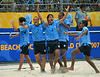 Uruguay's players celebrate after winning against the France' team during the FIFA Beach Soccer World Cup final match in Rio de Janeiro, Brazil, Nov. 11, 2007. Uruguay won 1-0 after penalty shoot-out. (Australfoto/Renzo Gostoli)
