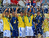 Brazil's players hold up the trophy after winning the final match of the FIFA Beach Soccer World Cup final match in Rio de Janeiro, Brazil, Nov. 11, 2007. Brazil won 8-2 and got the trophy. (FOTO:AUSTRAL FOTO/RENZO GOSTOLI)