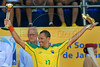 Brazil's Buru holds up the trophies for best player and best scorer of the FIFA Beach Soccer World Cup in Rio de Janeiro, Brazil, Nov. 11, 2007. (Australfoto/Renzo Gostoli)