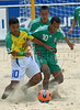 Brazil's Benjamin, right, fights for the ball with Gustavo Rosales from Mexico during the FIFA Beach Soccer World Cup final match in Rio de Janeiro, Brazil, Nov. 11, 2007. Brazil won 8-2 and got the trophy. (Australfoto/Renzo Gostoli)