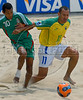 Brazil's Buru, right, fights for the ball with Gustavo Rosales from Mexico during the FIFA Beach Soccer World Cup final match in Rio de Janeiro, Brazil, Nov. 11, 2007. Brazil won 8-2 and took the trophy. (Australfoto/Renzo Gostoli)