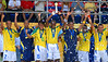 Brazil's players hold up the trophy after winning the final match of the FIFA Beach Soccer World Cup final match in Rio de Janeiro, Brazil, Nov. 11, 2007. Brazil won 8-2 and got the trophy. (Australfoto/Renzo Gostoli)