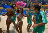 Mexican beach soccer players, celebrate with dancers of the Mangueira samba school after obtaining the second place of the  FIFA Beach Soccer World Cup final in Rio de Janeiro, Brazil, Nov. 11, 2007. Brazil won 8-2 and got the trophy. (Australfoto/Renzo Gostoli)