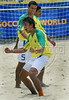 Brazil's Bruno celebrates after scoring against Mexico during the FIFA Beach Soccer World Cup final match in Rio de Janeiro, Brazil, Nov. 11, 2007. Brazil won 8-2 and got the trophy. (Australfoto/Renzo Gostoli)