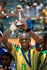 Brazil's Junior Negao hold up the trophy after winning the final match of the FIFA Beach Soccer World Cup final match in Rio de Janeiro, Brazil, Nov. 11, 2007. Brazil won 8-2 and got the trophy.(Australfoto/Renzo Gostoli)