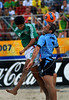 Mexico's Ricardo Villalobos, left, fights for the ball with Parrillo from Uruguay during the FIFA Beach Soccer World Cup semi-final match in Rio de Janeiro, Brazil, Nov. 10, 2007. Mexico won 5-2.  (Australfoto/Renzo Gostoli)