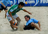 Mexico's Morgan Plata, left, fights for the ball with Fabricio Vallarino from Uruguay during the FIFA Beach Soccer World Cup semi-final match in Rio de Janeiro, Brazil, Nov. 10, 2007. (Australfoto/Renzo Gostoli)
