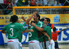 Mexico's Francisco Cati, center, celebrates with his teammate Jose Luis Navarrete (6), Francisco Vargas (3), left and Alejandro Pozos, right ,after Mexico defeated Uruguay at the FIFA Beach Soccer World Cup semi-final match in Rio de Janeiro ,Brazil, Nov. 10, 2007.  (Australfoto/Renzo Gostoli)