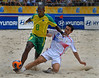 Brazil's Junior Negao, left, fights for the ball with Stephane Francois from France during the FIFA Beach Soccer World Cup semi-final match in Rio de Janeiro, Brazil, Nov. 10, 2007. Brazil won  6-2. (Australfoto/Renzo Gostoli)