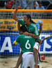 Mexico's Francisco Cati celebrates with his teammate Jose Luis Navarrete (6) after Mexico defeated Uruguay at the FIFA Beach Soccer World Cup semi-final match in Rio de Janeiro ,Brazil, Nov. 10, 2007. Mexico won 5-2.  (Australfoto/Renzo Gostoli)