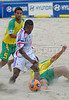 France's Jeremy Basquaise, center, fights for the ball with Betinho, right, from Brazil during the FIFA Beach Soccer World Cup semi-final match in Rio de Janeiro, Brazil, Nov. 10, 2007. Brazil won  6-2. (Australfoto/Renzo Gostoli)