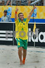 Brazil's Betinho celebrates after scoring the fourth goal against France during the FIFA Beach Soccer World Cup semi-final match in Rio de Janeiro, Brazil, Nov. 10, 2007. Brazil won  6-2. (Australfoto/Renzo Gostoli)