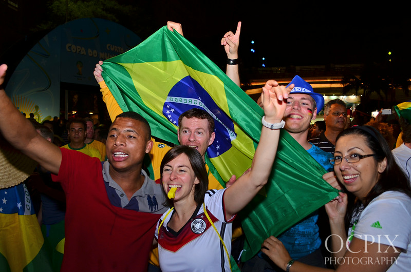 Fans with Brazil flag World Cup