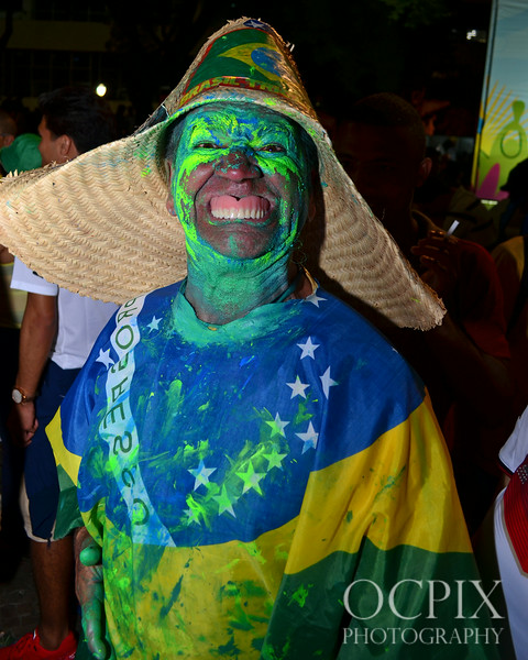 Man painted in Brazil's colors