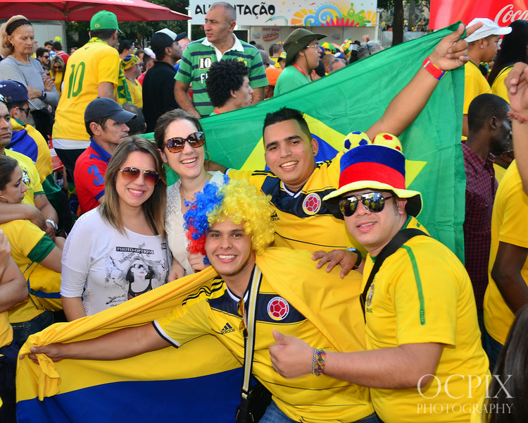 Group of fans posing for the camera in Brazil for World Cup