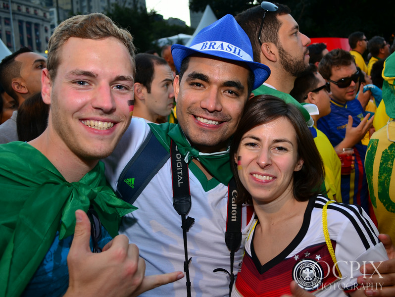 Three fans in Sao Paulo for the FIFA Fan Fest during the World Cup 2014
