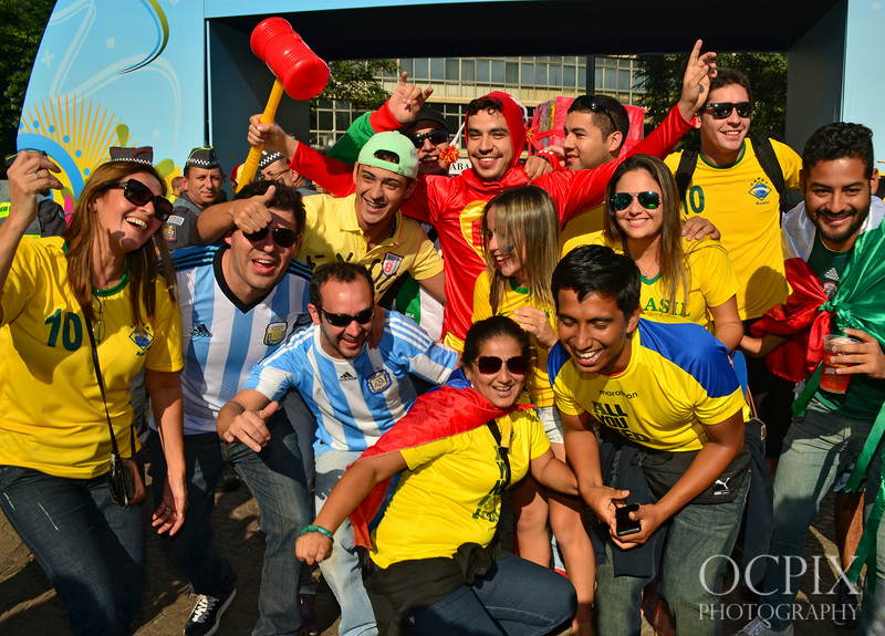 Group of soccer fans in Sao Paulo during Fan Fest