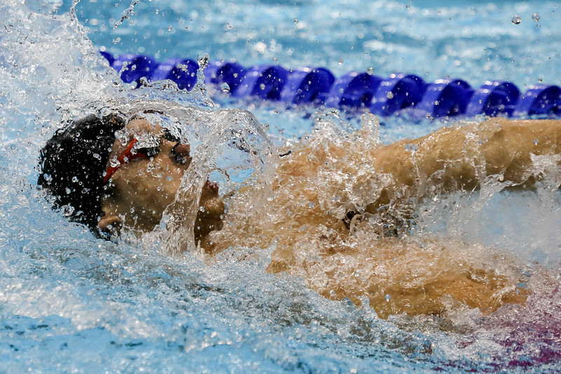 Athelets in action during Mens 4*50m Medley Relay Final at the FINA Airweave Swimming World Cup, at OCBC Aquatic centre Singapore. Photo by Sanketa Anand/Sport Singapore